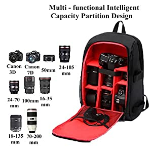 Camera Backpack Waterproof by G-raphy for DSLR /SLR Cameras (Canon , Nikon , Sony and etc ) , 17'' Laptops , Tripods , Flashes, Lenses and Accessories (Red)