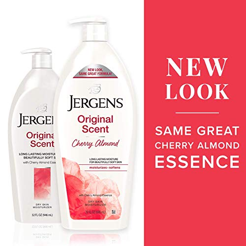 Jergens Original Scent Dry Skin Moisturizer, Body and Hand Lotion, for Long Lasting Skin Hydration, 32 Ounce, with HYDRALUCENCE blend and Cherry Almond Essence
