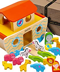 PREMIUM QUALITY KIDS WOODEN TOYS   Our Wooden Noahs Ark Toddler Toys are perfect Toys for 1 2 3 4 5 year old boys and girls – Jaques Wooden Toys are made from Sustainable Sources with Bright and Colourful Non Toxic Paint – Wooden Noahs Ark with Anima...