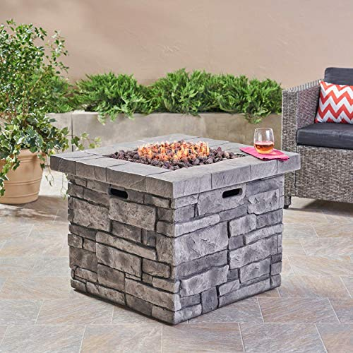 Review MISC Angeles Outdoor Propane Square Fire Pit Table with Lava Rocks by - N/a Grey Steel Stone ...