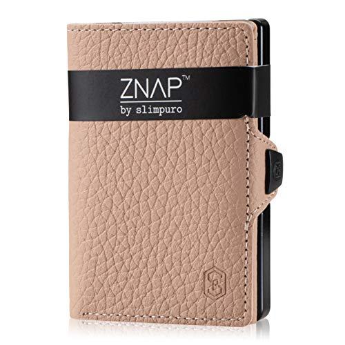 ZNAP - Cartera para hombre (tamaño pequeño, con compartimento para monedas y protección RFID, piel granulada, para 4-8 tarjetas), color crema