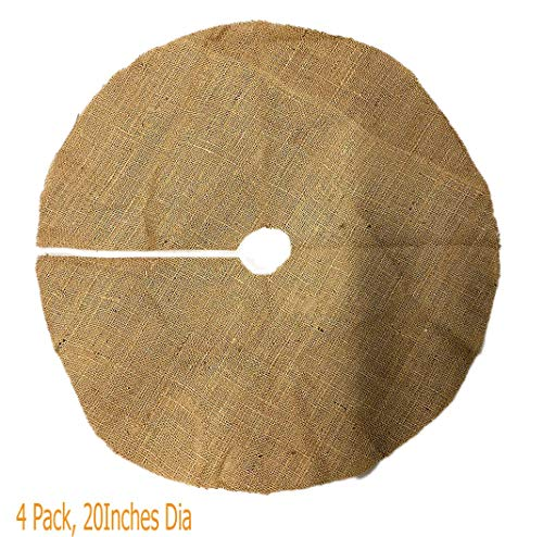 4 Pack- Burlap Plant Cover Ring | 21' Tree Skirt | Unfinished Raw Edges | Great for use as Weed mat or Round Mulch Cover