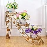 LF- Arte de Hierro Zapatos de tacón Alto Salón de balcón Multicapa con macetero Estante Interior Estante de Flores Tridimensional Fuerte y Robusto (Color : Yellow)