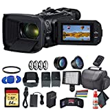 Canon Vixia HF G60 UHD 4K Camcorder (Black) (3670C002) with Extra Battery, UV Filter, Close Up Diopters, Wide Angle Lens,Padded Case, LED Light, 64GB Memory Card and More Advanced Bundle
