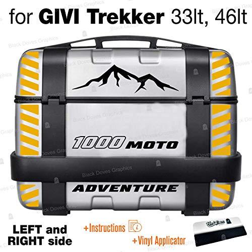 18 adhesivos compatibles con Suzuki V-Strom 1000 para Givi Trekker 33 l, 46 l, maleteros laterales con tiras reflectantes (LFT and Right Side) (negro/amarillo)