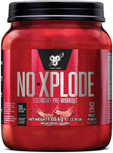 BSN Nutrition N.O.-Xplode, Suplementos Deportivos Pre Workout en Polvo con Creatina Monohidrato, Cafeina, Beta Alanina, Vitamina D y Vitamina B Complex, Ponche de Frutas, 50 Porciones, 1.05kg
