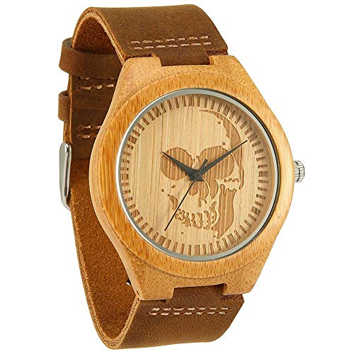 WONBEE Bamboo Wood Watches Infinity Design with Cowhide Leather Strap Unisex WONBEE Bamboo Wood Watches Skull Design with Cowhide Brown Leather Strap Unisex Packed in Gift Box