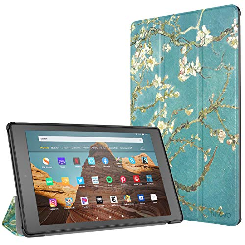 TiMOVO Hülle für Das neue Amazon Kindle Fire HD 10 Tablet (7. Gen 2017 und 9. Gen 2019) - Ultra Slim Lightweight Schutzhülle Smart Cover Case mit Auto Wake/Sleep & Translucent Rückseit, Aprikose Blume