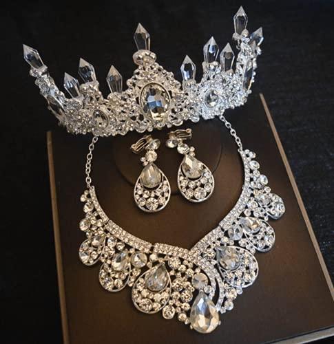 WOFEI Tocado De Novia De Tres Piezas Pendientes Corona Collar Mujer Cristal Accesorios De Baile Conmemorativo De Cumpleaños.