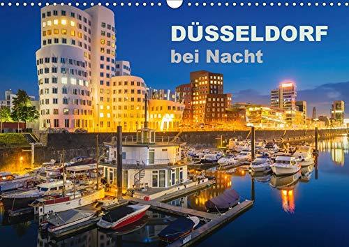 Düsseldorf bei Nacht (Wandkalender 2021 DIN A3 quer): Faszinierende Bilder aus Düsseldorf zur Blauen Stunde (Monatskalender, 14 Seiten )