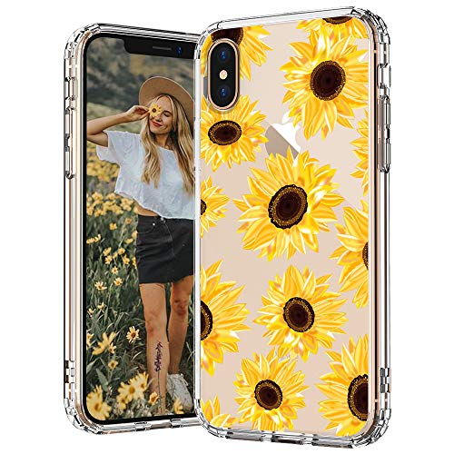 MOSNOVO iPhone Xs Max Case, Clear iPhone Xs Max Case, Floral Flower Sunflower Pattern Clear Design Transparent Plastic Back Case with TPU Bumper Case Cover for iPhone Xs Max