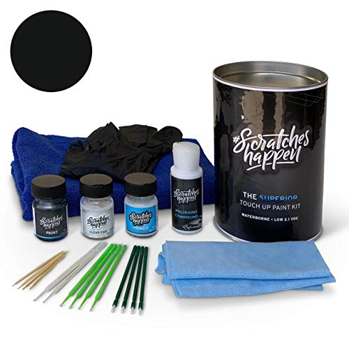 ScratchesHappen Exact-Match Touch Up Paint Kit Compatibel met Ford/Lincoln Zwart (M6388G/YGYA) - Compleet