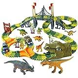 Dinosaur World Race Track Toys - 216pcs Flexible Track Playset with 1 Dinosaur Car, 1 Race Car, 6 Dino Toys, for Kids 3 4 5 6 Year & Up Old (Boys and Girls)