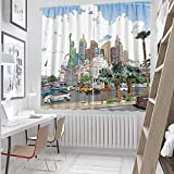 hengshu Thermal Insulated Curtains 63 Inches Long Las Vegas Street Sketchy Multicolor Black Out Drapes for School 55x63 Inch