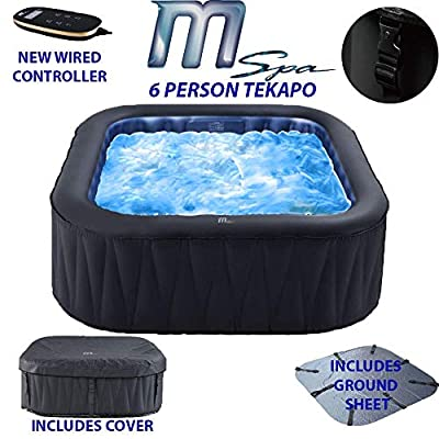 Modern-Depo M-spa 6-Person Tekapo Inflatable Hot Tub | Outdoor Portable Tub Jets Bubble Massage Pool Square (73 x 73 x 27 inches)