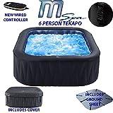 MSpa D-TE06 Tekapo 6 Person Portable Square Hot Tub Bubble Spa Inflatable Jacuzzi (Latest 2018 Model), Black