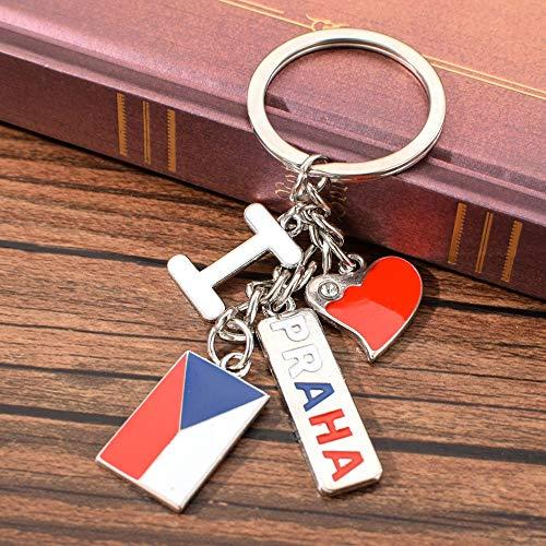 VAWAA Tschechische Schlüsselanhänger Ich Liebe Prag Schlüsselanhänger Zinklegierung Schlüsselanhänger Für Schlüssel Prag Reise Souvenir Geschenk Für Beste Freundin