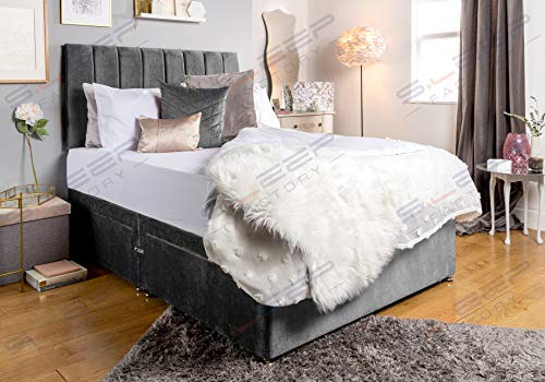 Sleep Factory's Grey Velveto Divan Bed Set & Memory Foam Mattress (2.6FT (Small Single), 2 Drawers (Same Side))