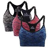 Hawiton Sport BH Damen Bustier Push Up Yoga Fitness Bra Top verstellbare Träger Ohne Bügel 1er/3er Pack Orange-blau-schwarz M