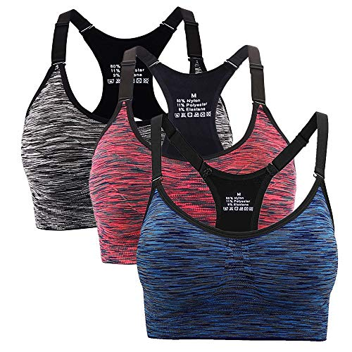 Hawiton Reggiseno Sportivo per Spugna Rimovibile per Fitness Corsa Tennis Running Yoga Palestra,Orange-Blu-Nero,Small
