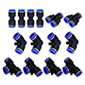 Metalwork Plastic Push To Connect Fittings Pneumatic Fittings Kit 2 Spliters+4 elbows+4 tee+4 Straight Union Ultimate Professional Set 14 Pack