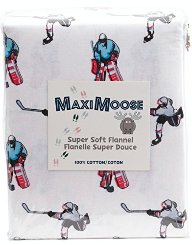 MAXIMOOSE Hockey Champion Sports NHL Boys Twin or Full Sheet Set 100% Cotton Flannel Sketched Sport Hockey Player Goalkeeper (Full)