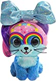 Little Bow Pets Stuffed Animals - Large Soft Fluffy Plush Blue Kitty Cat Twinkle Bow Pet with Blue Sparkle Surprise Bow - 2 Surprise Toys Inside Bow