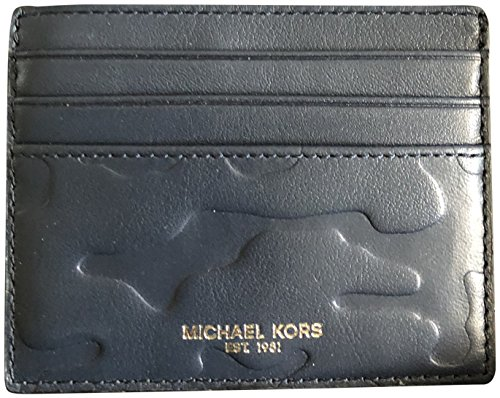Michael Kors Men's Tall Embossed Leather Card Case Wallet Navy