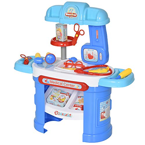 HOMCOM 26 Pcs Kids Children Doctor Play Set Pretend Medical Kit Syringe Stethoscope Educational Safe Boys Girls Gift Age 3 - 6 Yrs Blue