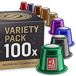 """Mixed Taster Pack with our entire selection of coffee pods. 9 different varieties. 100 coffee capsules With both Fairtrade and organic coffees. See the variants on the pictures. Voted """"Best In Test"""" in different European newspapers & magazines 100% c..."""