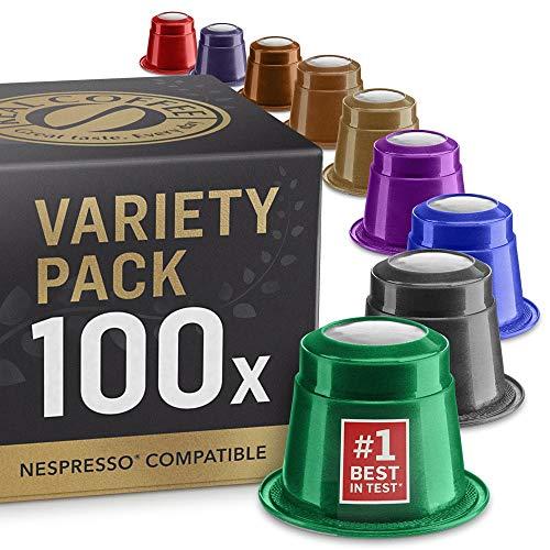 Gemischte Testbox: 100 Nespresso kompatible Kapseln. Kaffeekapseln Testsieger.