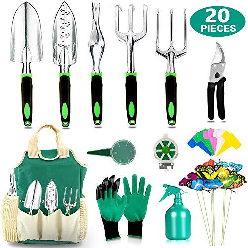 AOKIWO 20 Pcs Garden Tools Set Heavy Duty Aluminum for Men Women, Green