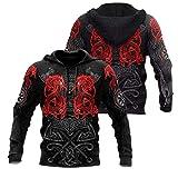 AQzxdc Sudadera con capucha para hombre, diseño de lobo de Fenrir rojo, impresión 3D, martillo de Odin Thor, manga larga, chaqueta casual de mitología nórdica, con bolsillo, A, 3XL