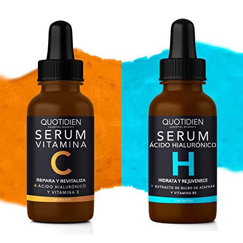 Kit Básicos Quotidien: 1 Serum Vitamina C 30ml + 1 Serum Ácido Hialurónico 30ml - Ingredientes Naturales - Hidratación Profunda + Vitalidad en tu Rostro - Mejora la Textura- Firmeza y Tonificación- Disminución de arrugas y lineas de expresión.