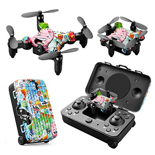 YeMantoys Graffiti Trunk Control Handle RC Suits for Kids Beginners Mini Nano Drone Remoto Quadcopter Plane Toys 3D Flips Headless Mode One Key Start Speed Adjustment Multi-Function boy and Girl Gift