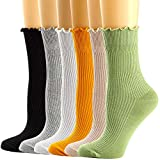 Womens Crew Socks Ruffle Turn-Cuff Dress Socks Casual Cotton Knit Warm Comfy Lettuce High Ankle Socks For Women 6/7 Pack -  Mcool Mary