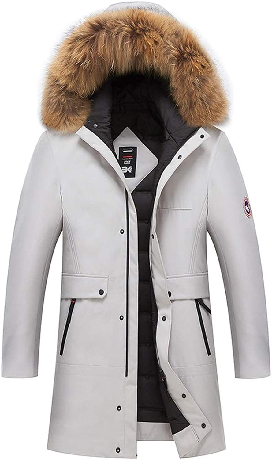 New Down Jacket, Men's Trend Long Hooded Jacket with Fur Collar, Winter Outdoor Cold Padded Warm Clothing, Suitable for Cold Weather (color   White, Size   XXXL)