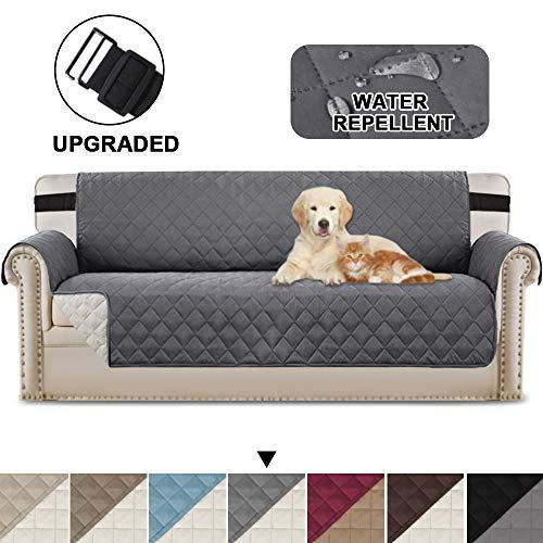 Reversible Quilted Furniture Protector mit verstellbaren Trägern, Mikrofaser, weich und wasserabweisend (übergroßes Sofa: Grau/Beige)