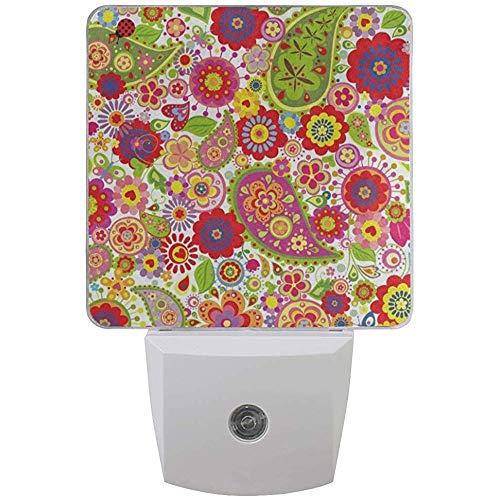 Katrine Store Weiße LED Plug-in Nachtlicht Poppy Paisley Flower Marienkäfer Lichtsensorgesteuerte Dämmerung bis Morgendämmerung Nachtlicht Lampe Achten Sie gut darauf, Kinder schlafen
