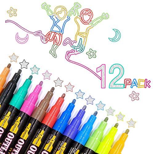 Bolígrafos de Contorno de Doble Línea, ZAHRVIA 12 colores Bolígrafos de pintura, marcadores metálicos para pintura de rocas, cerámica, vidrio, madera, tela, lienzo, tazas