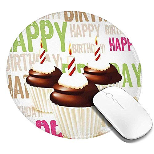 Ronde muismat, Grunge Happy Birthday Patroon met drie chocolade cupcakes kaarsen, anti-slip Gaming Mouse Mat