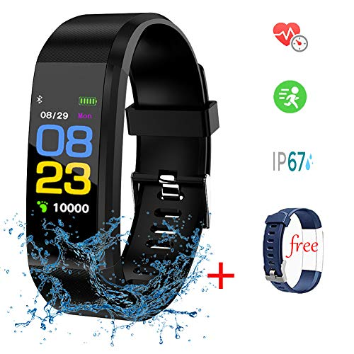 2 Fitness Tracker,LIGE Activity Tracker with Heart Rate Monitor,Waterproof Sports Bracelet Men Women Kids Smart Watch Pedometer Calorie Counter Black for Android and iOS