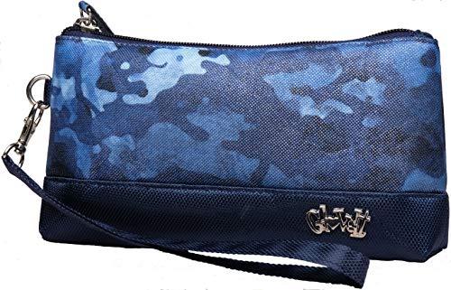 Glove It Carteira de pulso feminina, carteira de pulso com zíper, linda e moderna mini bolsa clutch para telefone, viagem, acessórios de golfe, camuflagem azul