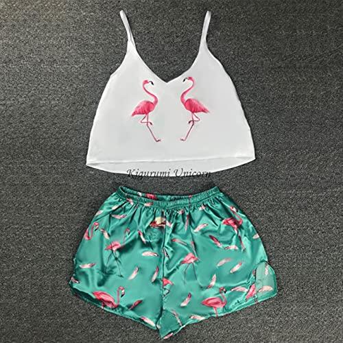 Unicornio impresión Pijama Conjuntos patrón Mujeres Pijamas Correa sin Mangas Sexy Ropa de Dormir Set Femenino Verano Noche Desgaste el Traje de la casa