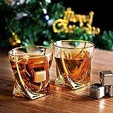 Hotrose Whiskeygläser Set, Geburtstagsgeschenk Set für Männer und Frauen, Kristall Wein Tassen Geschenkset mit 2 Gläsern, 6 Eiswürfelsteinen, 1 Gummizange - 2