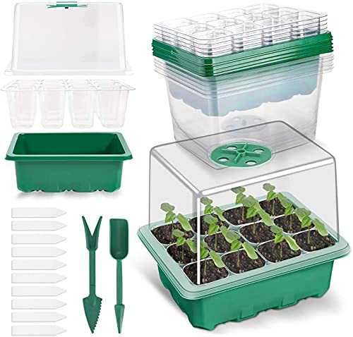 Richaa 5 Pack Bac à Semis, Plateaux de Culture avec Couvercle Mini Serre pour Semis pour Germination, Culture des Plantes Fleurs (12 cellules par Plateau)