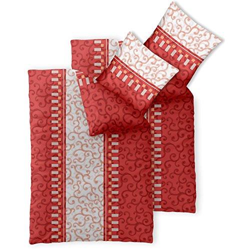 CelinaTex Fashion Bettwäsche 135x200 cm 4teilig Baumwolle Jola Ornamente Rot Weiß Orange