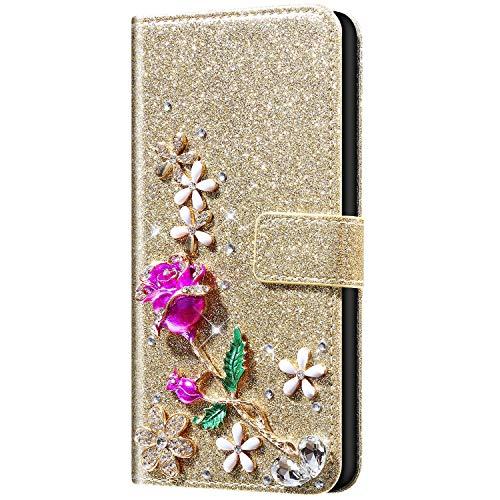 Qpolly - Carcasa compatible con iPhone 11 Pro Max, 3D brillante con brillantes, diseño de flores, piel sintética, con tapa, cierre magnético, tarjetero, función atril, color dorado
