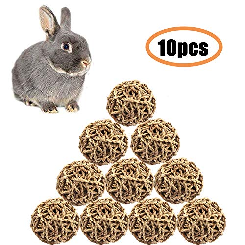 10 Pack, Small Animal Ball Toy, Rabbit Activity Toy, Small Animal Chew Toys Grass Ball for Hamsters Gerbils Bunny Rabbits Guinea Pigs