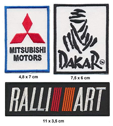 Ralliart Mitsubishi Dakar Aufnäher Patches 3 Stück Rallye Jeep Pajero Offroad 4x4